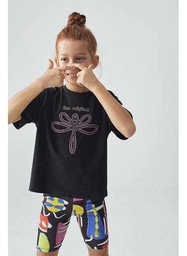 Tyess Kız Çocuk Siyah T-Shirt Siyah